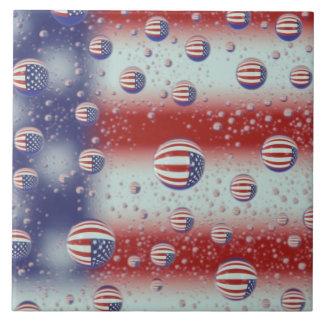 North America, USA, WA, Redmond, U.S. Flag Large Square Tile