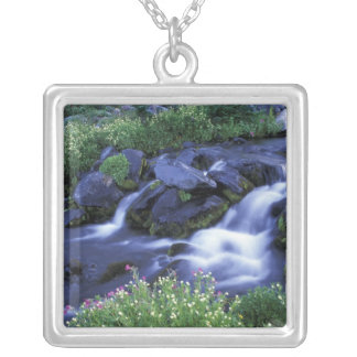 North America, USA, Washington, Mt. Rainier 3 Silver Plated Necklace