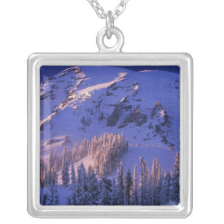North America, USA, Washington, Mt. Rainier 5 Silver Plated Necklace