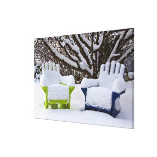 North America, USA, Washington, Seattle, Snow 3 Canvas Print