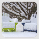 North America, USA, Washington, Seattle, Snow 3 Square Sticker