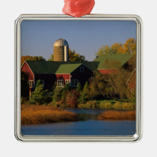 North America, USA, Wisconsin. Red Barn in Christmas Ornament