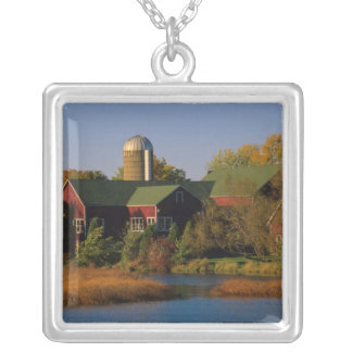 North America, USA, Wisconsin. Red Barn in Silver Plated Necklace