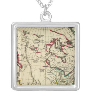 North America with boundaries outlined Silver Plated Necklace