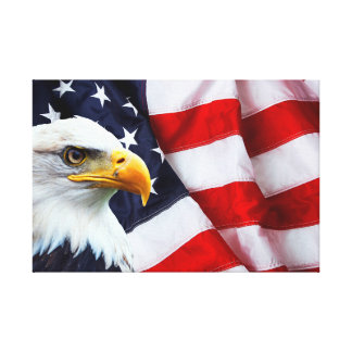 North American Bald Eagle on American flag Canvas Print