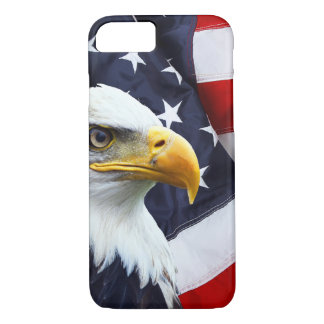 North American Bald Eagle on American flag iPhone 7 Case