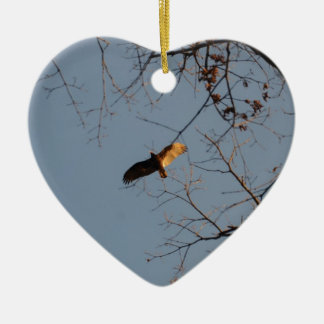 North American Buzzard coming home to roost Ceramic Heart Decoration