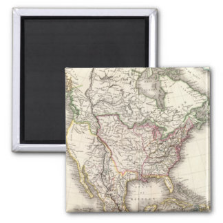 North American Engraved Map Magnet