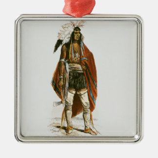 North American Indian Silver-Colored Square Decoration