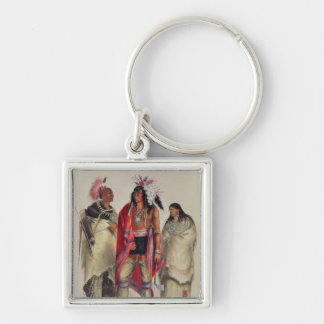 North American Indians, c.1832 Silver-Colored Square Key Ring