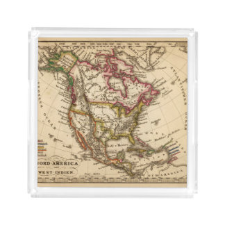 North American Map 2 Acrylic Tray