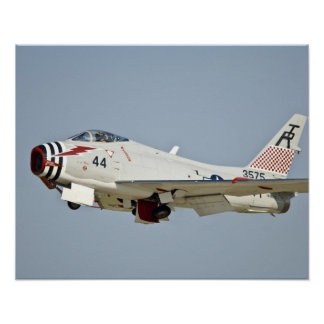 North American Naval FJ2 Fury Jet Fighter flying Poster