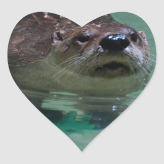North American River Otter Heart Stickers