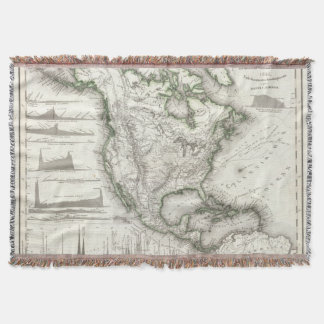 North American Rivers and Mountains Throw Blanket