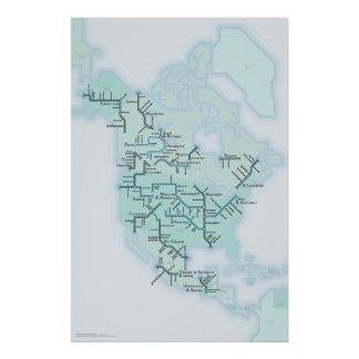 North American Rivers Poster