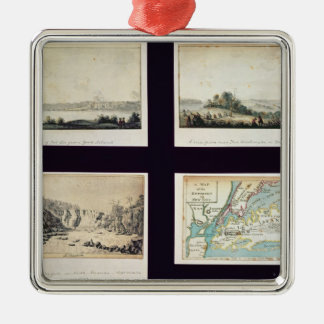 North American Scenes and a map of New York Christmas Ornament