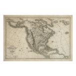 North American Vintage Map Poster