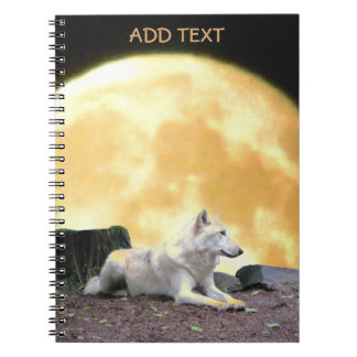 North American Wolf Against Full Moon Spiral Notebooks