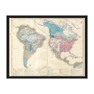 North and South America Ethnic Map from 1880 Stretched Canvas Prints