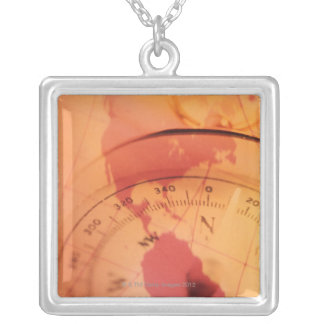 North and south america map with compass silver plated necklace
