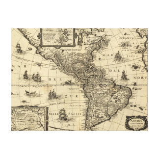 North and South America - Panoramic Map Stretched Canvas Print