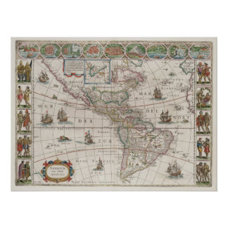 North and South America Print