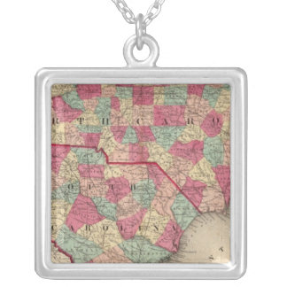 North and South Carolina Silver Plated Necklace