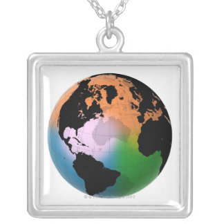 North Atlantic Ocean Current Map Silver Plated Necklace