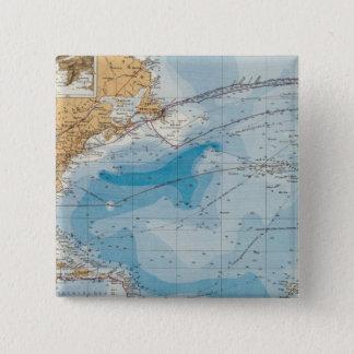 North Atlantic Ocean Map 15 Cm Square Badge