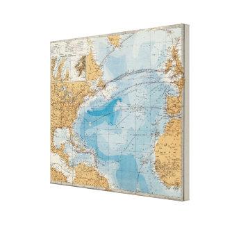 North Atlantic Ocean Map Canvas Print