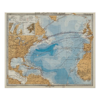 North Atlantic Ocean Map Poster