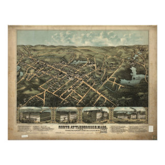 North Attleboro Mass.1887 Antique Panoramic Map Poster