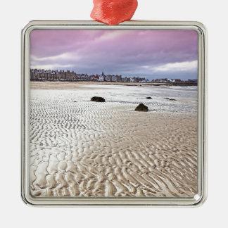 North Berwick beach in Scotland Silver-Colored Square Decoration