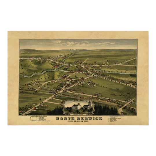 North Berwick ME Panoramic Birdseye View 1877 Poster