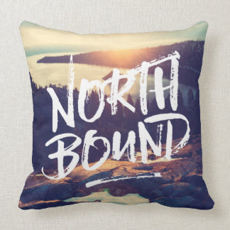 North Bound Dry Brush Typography Photo Template Cushion