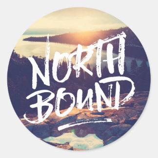 North Bound Quote Brush Typography Photo Template Classic Round Sticker