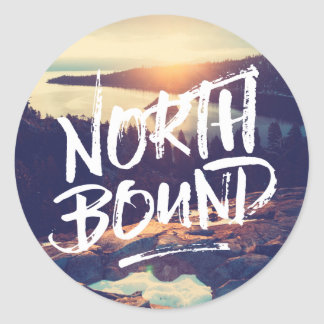 North Bound Quote Brush Typography Photo Template Round Sticker