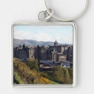 North Bridge, Edinburgh Silver-Colored Square Key Ring