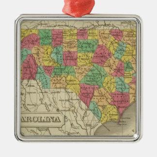 North Carolina 3 Silver-Colored Square Decoration