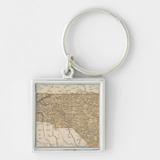 North Carolina Atlas Map Silver-Colored Square Key Ring