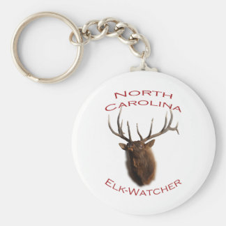 North Carolina Elk-Watcher Basic Round Button Key Ring