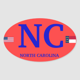North Carolina* European Style Oval Oval Sticker