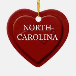 North Carolina Heart Map Christmas Ornament