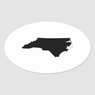 North Carolina in Black and White Oval Sticker