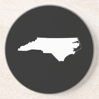 North Carolina in White and Black Coaster