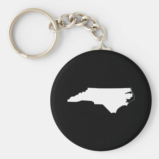North Carolina in White and Black Key Ring