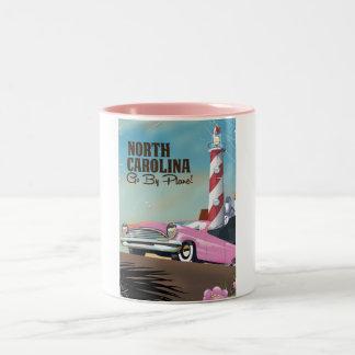 North Carolina Lighthouse travel poster Two-Tone Coffee Mug