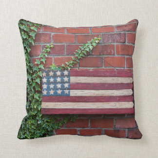 North Carolina, Linville, wooden US flag Throw Pillow