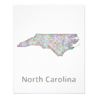 North Carolina map 11.5 Cm X 14 Cm Flyer