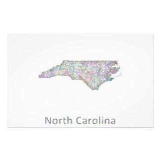 North Carolina map 14 Cm X 21.5 Cm Flyer